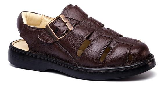 Sandália Masculina 308 Em Couro Floater Café Doctor Shoes