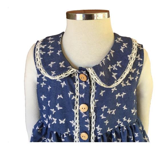 Vestido Infantil Em Denim Com Botões Frontal E Gola Boneca