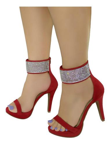 Sandália Vermelha Salto Alto Bellatotti Lucidi