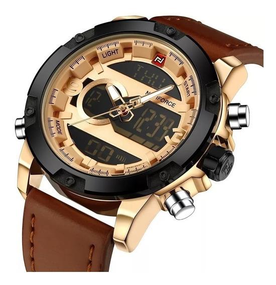 Relógio Naviforce 9097 Couro Original Analógico E Digital