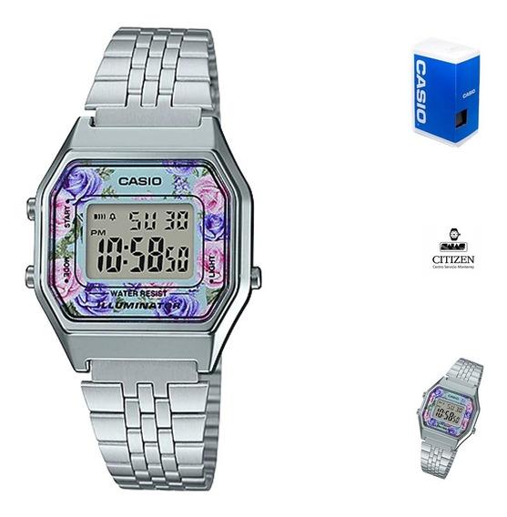Reloj Casio Retro La680 Dama Plata Flores *watchsalas* Full