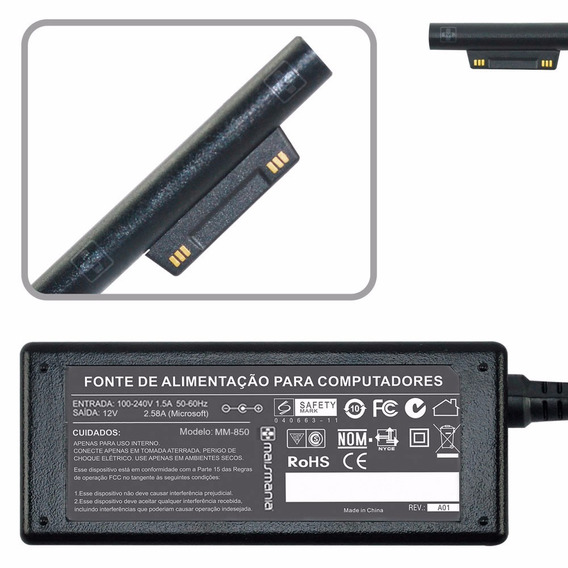 Fonte Carregador Para Surface Book Pro 4 I5 1706 15v 4a 850