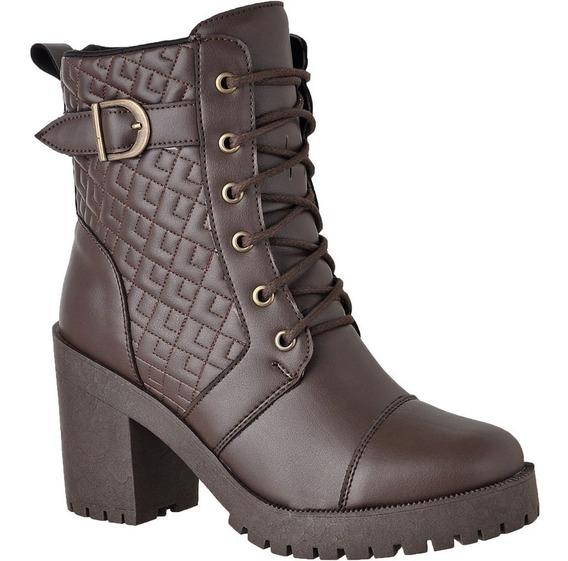 Bota Coturno Feminino Tratorada Salto Alto Grosso Ankle Boot