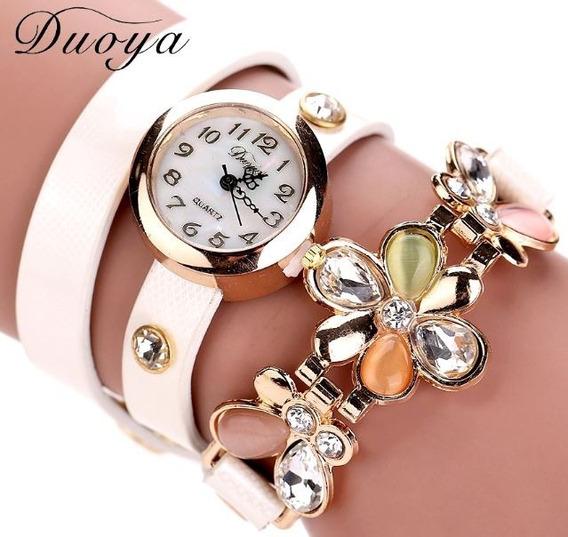 Watch Relógio Duoya Luxo Mulheres Com Bracelete E Pingente