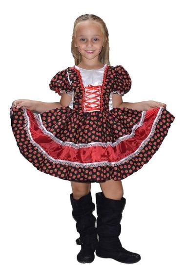 Vestido Quadrilha Festa Caipira Junina Infantil + Luva+fita