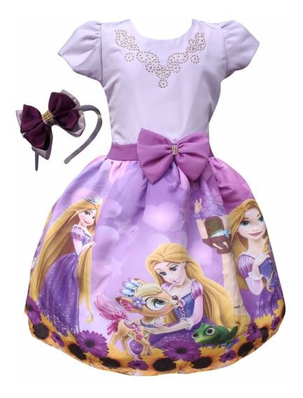 Vestido Rapunzel Enrolados + Tiara Brinde