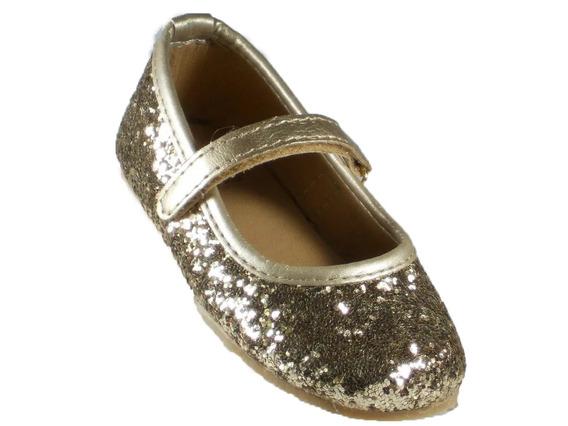 Chatita Nena Pians Glitter Dorado Con Abrojo