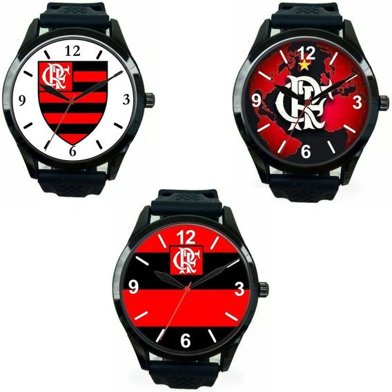 Kit 3 Relógio Pulso Esportivo Flamengo Barato Atacado Oferta