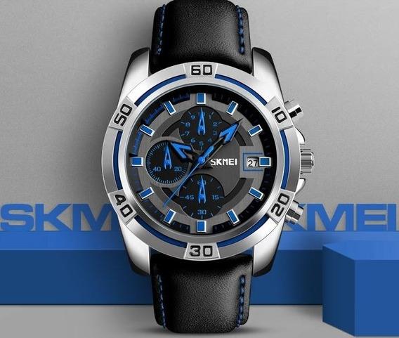 Relógio Skmei Luxo Aço Inoxidável E Pulseira De Couro