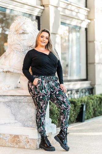 Calça Joguer Femininas Plus Size Militar Blogueira Envio Já
