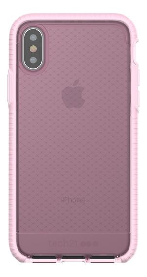 Funda iPhone X Tech21 Evo Check Rosa Claro