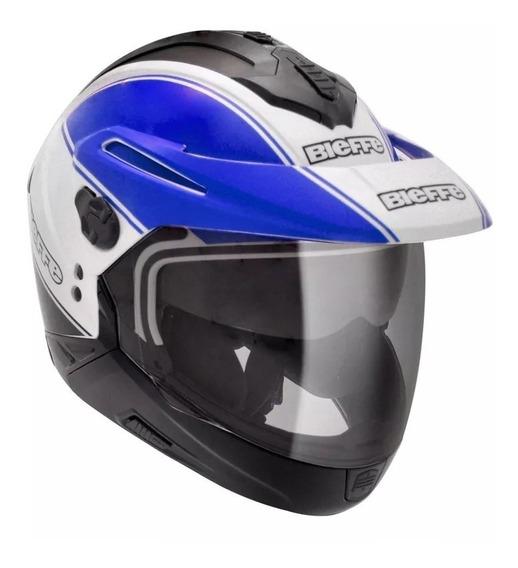 Capacete Bieffe X-5 Evolux Branco/azul C/ Óculos Tamanho 56