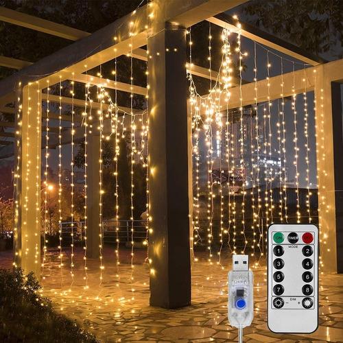 Cortinas Luces Led Serie 8 Modos Luz Calida Navidad Usb 3x3m