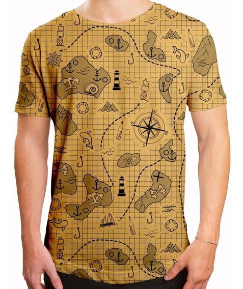Camiseta Masculina Longline Swag Mapa Do Tesouro