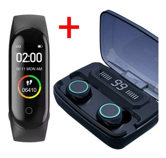 Fone De Ouvido Bluetooth A Prova D Água Tws + Pulseira M4