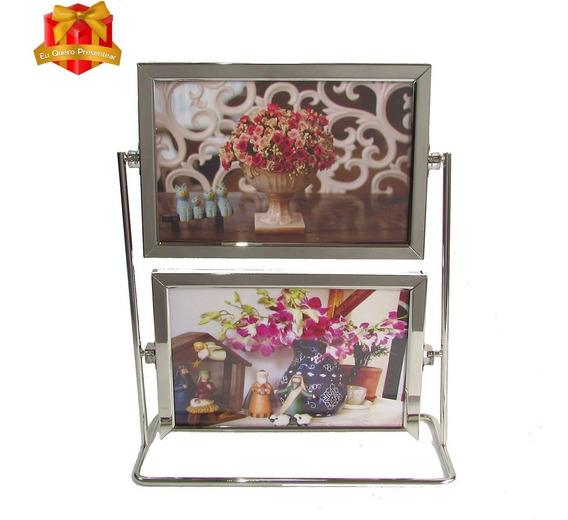 Porta Retrato Metal Giratorio Para 4 Fotos 15x10cm - Sxk5502