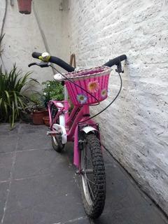 Bicicleta Rodado 16 De Niña Con Canasto. Fucsia Y Blanco