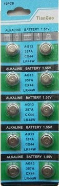 Cartela Com 10 Unidade Pilha Bateria Lr44 Ag13
