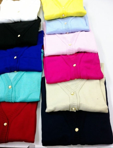 05 Blusas De Frio Feminina Casaco Cardigan Suéter Liso Trico