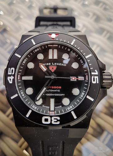 Relógio Automático Swiss Legend Abyssos Preto Mergulho 1000m