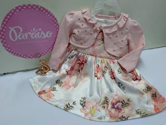 Kit Vestido Luxo + Bolero Paraiso Moda Bebe Menina Ref 8112