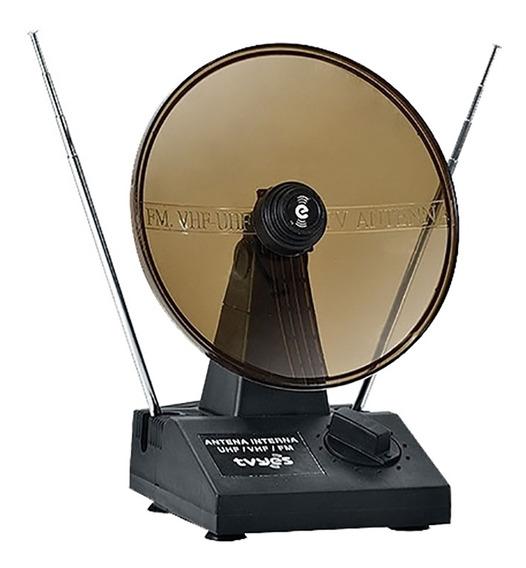 Antena Interna Com Parabóla Digital Tv Vhf Uhf Fm Tvyes