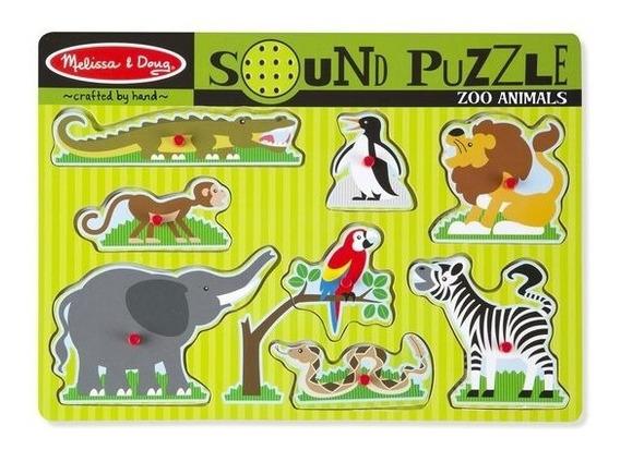 Puzzle De Madera Con Sonido Animales Del Zoo