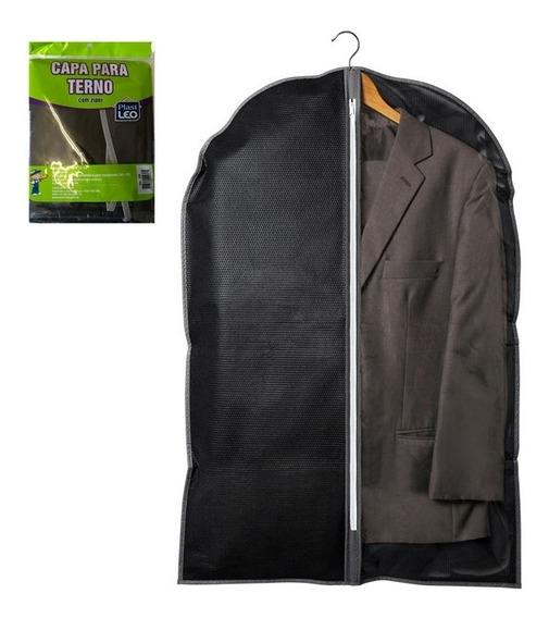 Porta Terno Em Tnt Preto Com Ziper Para Camisas Guarda Roupa