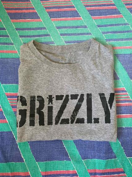 Camiseta Camisa Com Manga Grizzly Logo Cinza