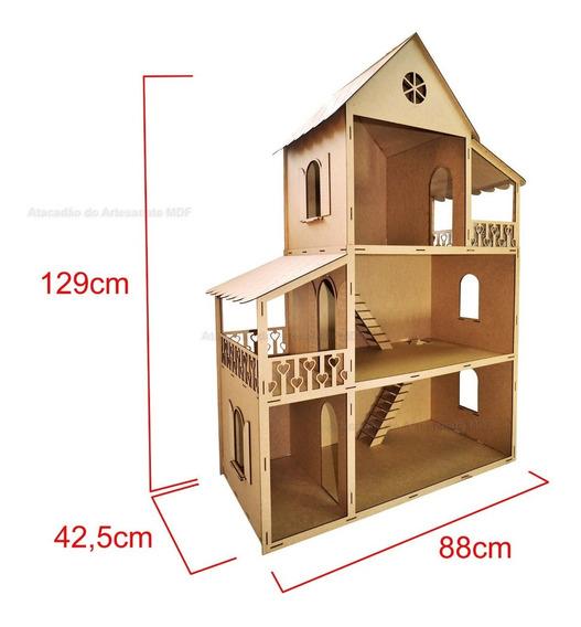 Casa P/ Boneca Barbie Desmontada 129x88x42,5 Mdf + Frete