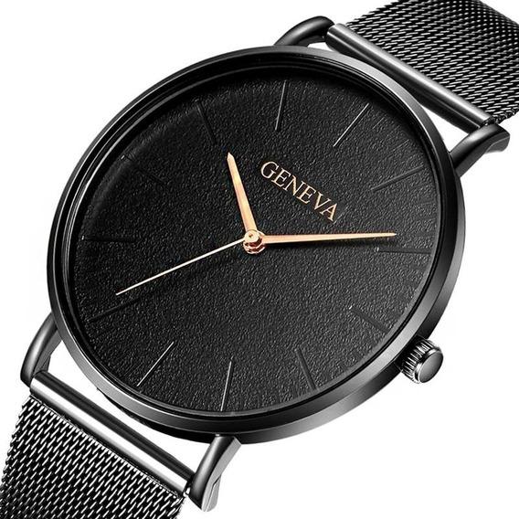 Relógio De Pulso Masculino Geneva Pulseira Malha + Brinde