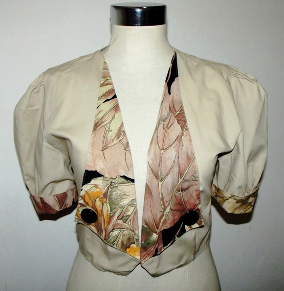 Saquito Bolero Vintage Solapa Corto Entallado M Impecable
