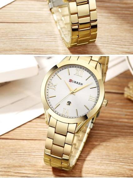 Relógio Feminino Banhado A Ouro - Marca Curren(frete Grátis)
