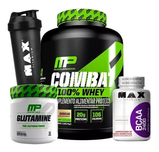 Combo Whey Combat 100% Bcaa Glutamina Coq Musclepharm