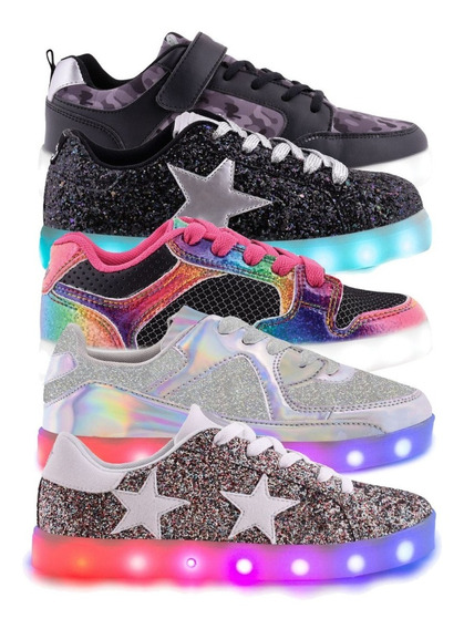 Zapatillas Luz Led Glitter Footy Niño 30-38 Children
