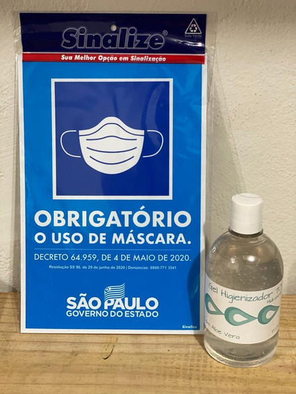 Kit Álcool Gel 500ml + Placa Uso De Mascara - Sinalize