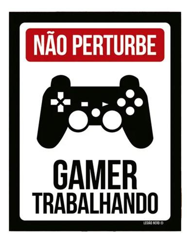 Placa Decorativa Criativa Gamer Trabalhando Controle Ps