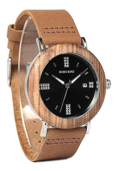 Relógio De Pulso Feminino Em Madeira De Bambu Bobo Bird.