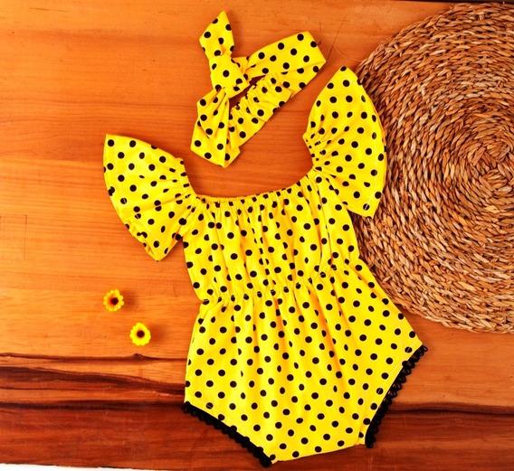 Body Bebê Menina Macaquinho Infantil Abelhinha 100% Algodão