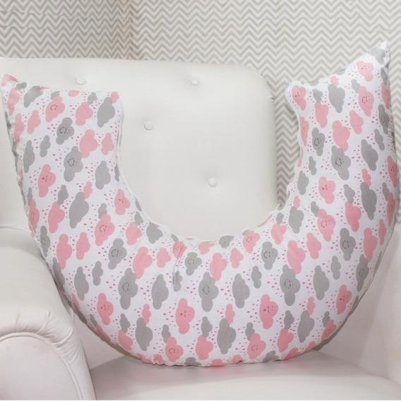 Almofada Amamentação 100% Algodão Chuva De Benção Nuvem Rosa Cinza Tamanho Ideal Ótima Qualidade Mega Oferta