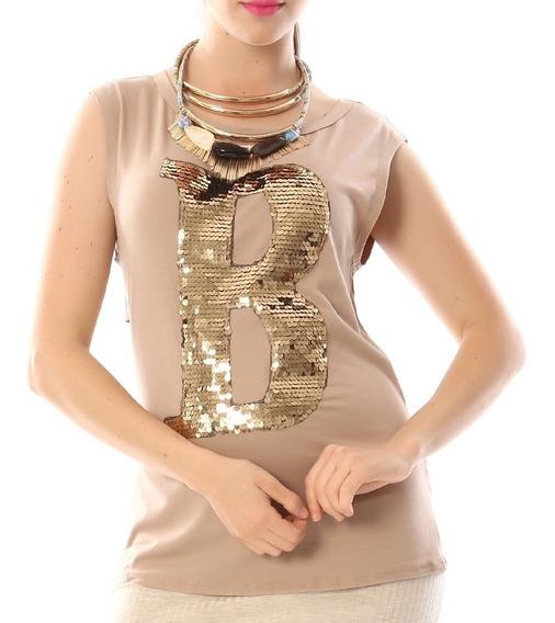 Blusa Nude Letra B Lentejuela Fashion C259