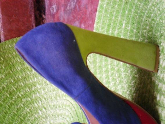 Zapato Plataforma Gamuza Tricolor Fantasia Dama Talla 37