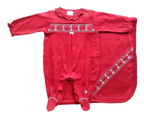 Imagem 1 de 6 de Saída Maternidade Menina - Anjos Baby - Vermelho - 2 Peças