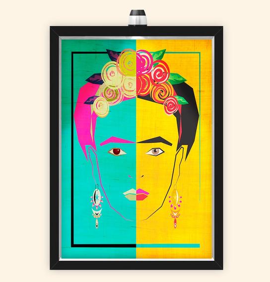 Quadro Caixa Com Led Frida Brasil
