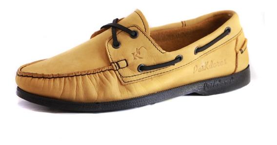 Zapatos Nauticos Mocasines Peskdores Oro Suela Negra Osn0091