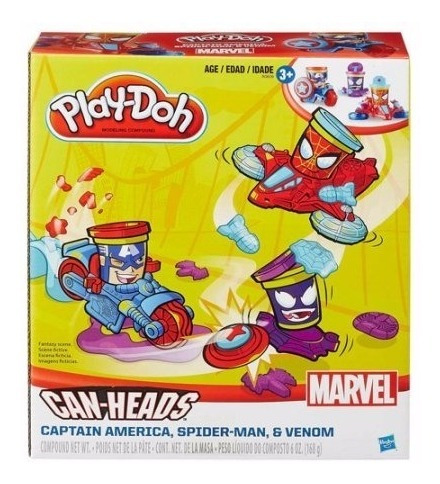 Play-doh - Can Heads - Marvel Spiderman & Capitan America
