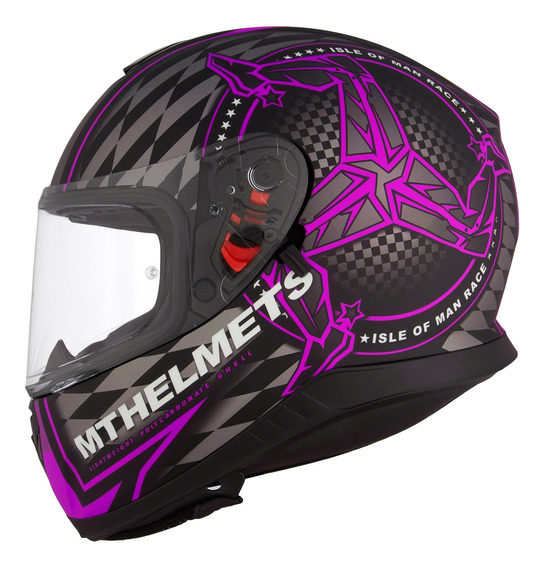 Casco Moto Mt Thunder Isle Of Man Purpura Mate Doble Visor