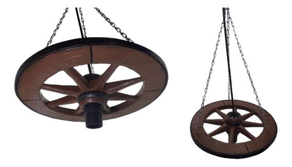 Roda De Carroça Pendente Rústico Luminária Fazenda Em Resina
