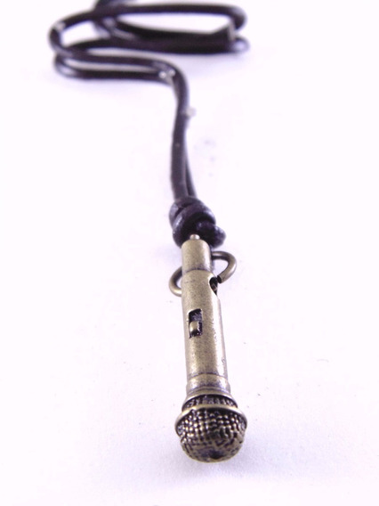 Colar Cordão Masculino Feminino Em Couro Microfone A024