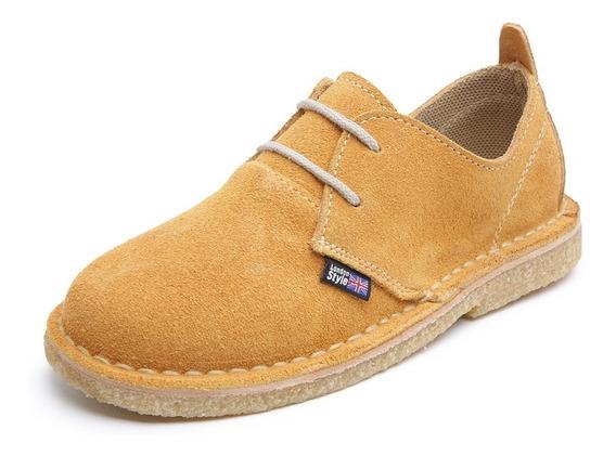 Sapato Infantil Em Couro E Borracha Crepe London Style